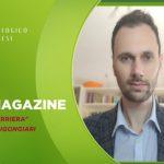 """copertina Techmagazine con scritto il titolo della puntata """"La Divina Carriera"""" con Simone Bigongiari"""